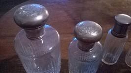 Bottigliette profumo vintage anni 20, tappo ARGENTO cesellato.4 portapro... - $150.52