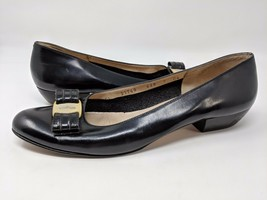 SALVATORE FERRAGAMO BOUTIQUE BLACK LEATHER BOW PUMPS SHOES SIZE 9 AAAA N... - $52.47