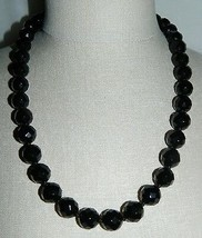 VTG Silver Tone Heavy Faceted Black Glass Beaded Choker Necklace Magneti... - $49.50