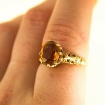 Vintage 9ct Gold Ring Citrine gemstone Victorian Uk size N BHS - $333.43