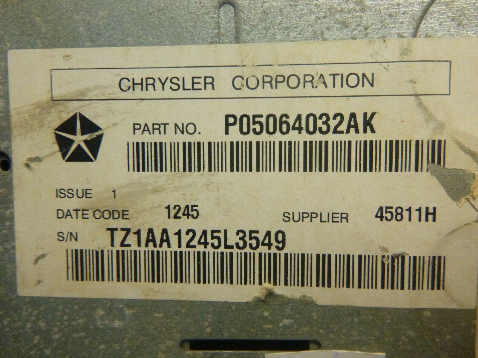 05-09 Chrysler Dodge RAK Radio 6 Disc Cd Mp3 Cassette Player P05064032AK ESR76