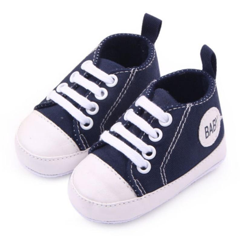 0-12Months Toddler Canvas Sneakers Baby Boy Girl Soft Sole Crib Shoes