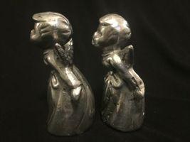 Vintage Pair Silver Tone Metal Cherub Angel Figure Heavy Figurine Decor image 4