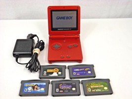 Working Game Boy Advanced SP Red AGS-001 + 5 Games & Charger - TESTED !! - $49.99