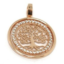 Pendant Rose Gold 750 18K, Tree of Life, Frame Zircon, Perforated image 2