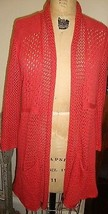 Anthropologie Angel of the North Coral Long Duster sweater open Cardigan L  - $44.59