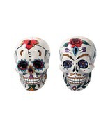 Day Of The Dead Salt Pepper Shakers Sugar Skulls Figurine Halloween Spoo... - $40.16 CAD