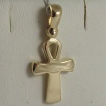 SOLID 18K YELLOW GOLD CROSS, CROSS OF LIFE, ANKH, SHINY, 0.87 INCH MADE IN ITALY image 1