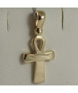 SOLID 18K YELLOW GOLD CROSS, CROSS OF LIFE, ANKH, SHINY, 0.87 INCH MADE ... - £121.81 GBP
