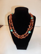 Gemstone chip and Turquoise  Swarovski pearl necklace - $14.00