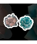 Vintage Brooch Lot of 2 Flower Pins Metal and Plastic Blue 3D Boho Hippy... - $14.84