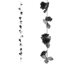 Darice Halloween Rose Garland: Black, 3 inches x 5 feet w - $7.99
