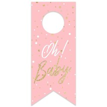 Oh Baby Pink Baby Shower Water Bottle Hang Tag - $26.24