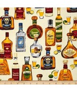 "Whiskey Bottles Stacked on Ivory Background-1 Yard-Kaufman-""Cheers"" Coll... - $10.95"