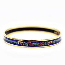 Hermes enamel PM Bangle Gold Blue Ladies Auth - $472.48