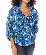 NYDJ Chiffon Circle Blouse Women's Blue Floral Size XS - $27.12