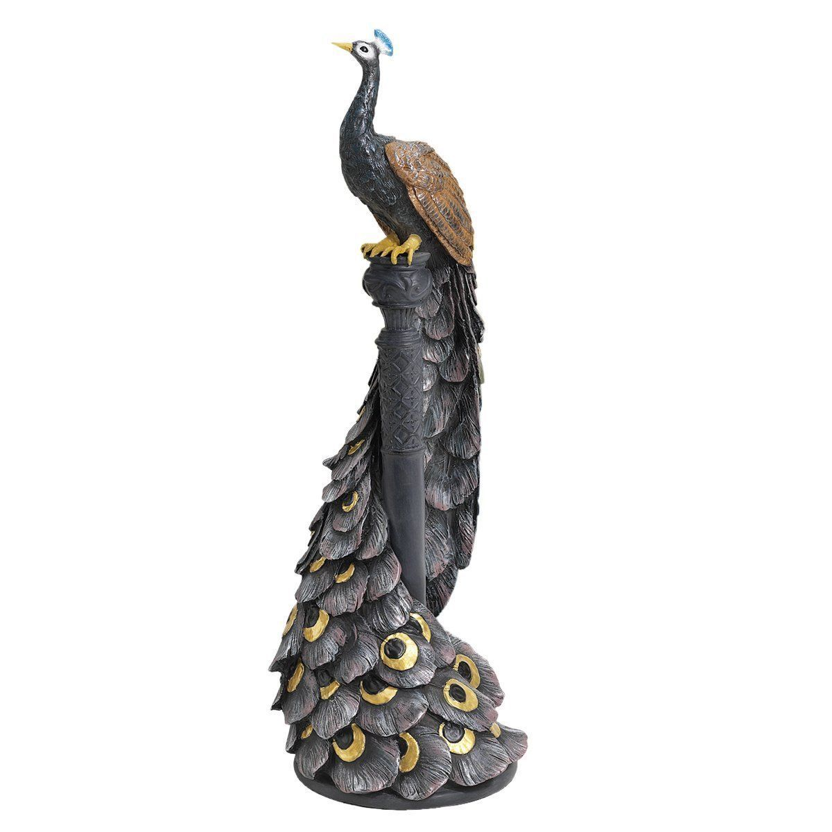 PERCH PEACOCK BIRD STATUE SCULPTURE Mom Wife Gift Zen Art Patio Porch Balcony