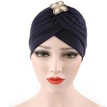 Women Diamonds Muslim Ruffle Cancer Chemo Hat Beanie Scarf Turban Head W... - ₨374.95 INR