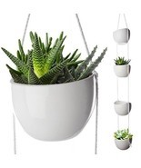 4 Pcs Hanging Ceramic Planters Decorative Flower Pot Outdoor Indoor Disp... - $42.86 CAD