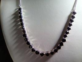 Genuine Black Spinel Heart Gemstone Tennis Style graduated Necklace - $202.91