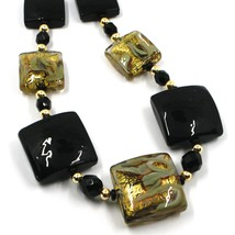 """NECKLACE WITH BLACK MURANO SQUARE GLASS & GOLD LEAF, MADE IN ITALY, 50cm, 20"""" image 2"""