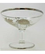 Vintage Beech and Oak Leaves Champagne Coupe Glass Barware Silver Rimmed - $9.89