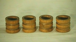 Classic Style Wood Wooden Napkin Ring Holders Tableware Set of 4  - $9.89