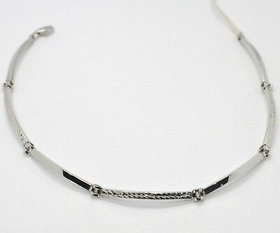 18K WHITE GOLD BRACELET WORKED PLATE ALTERNATE SQUARE CURVED LINK, ITALY MADE