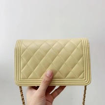 AUTH CHANEL BOY WOC Yellow Lambskin Wallet on Chain WOC Bag Ghw