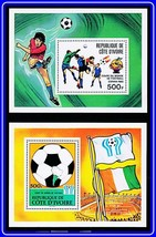 IVORY COAST 1978/82 FOOTBALL CUP   2 S/S MNH SOCCER, SPORTS - $2.51