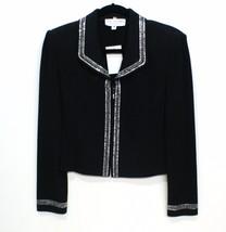 ST. JOHN EVENING Black Santana Knit Evening Jacket with Crystal Trim Sz ... - €281,28 EUR