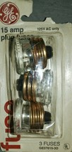 GE 15 Amp Type-W Fuse Standard UL 125V AC Replaces Ceramic Or Glass Top - $2.00