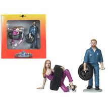 Val and Gary Tire Brigade 2 piece Figurine Set 1/18 by Motorhead Miniatu... - $34.40