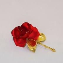 "Red Rose Brooch Pin Signed Cerrito Gold Tone Stem Rose 2"" Flower - $19.99"