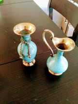 Enchanting 2 Brass Bud Vase's  Made in India 1997 w/Original Boxes image 5