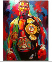 Mike Tyson Boxer Boxing Hand Painted Abstract Canvas Oil Painting Wall A... - $35.63
