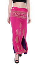 Ira Soleil pink purple reversable 2 sided long skirt with gold tinsel pr... - $49.99
