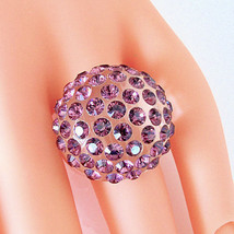 Clear Acrylic Domed Ring Lavender Swarovski Elements Crystal Dome By Lun... - $27.00