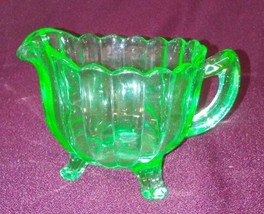 Footed Green Glass Creamer  - $15.84