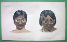 BOTOCUDOS Indians Brasilio-Guarani Nations - 1855 H/C Color Antique Print - $9.45