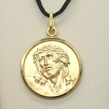 18K YELLOW GOLD ECCE HOMO, JESUS CHRIST FACE MEDAL DETAILED MADE IN ITALY, 19 MM image 4