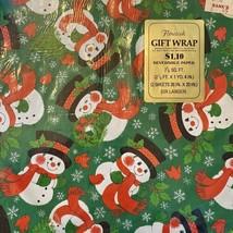 "VTG Flourish Christmas Gift Wrap Wrapping Paper ""hallmark"" Snowman Vintage - $25.25"