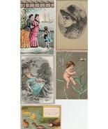 Victorian Trade Cards Lot of 5 Ducks Children Doll Cherub Women Boat - $6.92