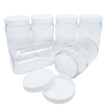 Kelkaa 17oz Clear PET Plastic Jars with White Ribbed PE Lined Caps (Pack... - $18.95