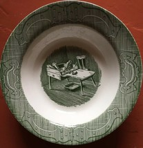 Vintage ROYAL CHINA Green Cobblers Bench Vegetable Serving Bowl - Made in U.S.A. - $7.38