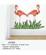 Passionate Flamingo Grass Color Wall Sticker For Living Room Bedroom - $22.29