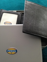 fossil trifold wallet black genuine leather with window image 5
