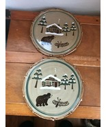 Estate Lot of 2 Sonoma Lodge Rustic Cabin Canoe Bear Cheese Tray or Sala... - $24.88