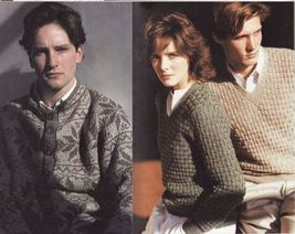 Vtg Vogue Mens Knits 25 Designs Tennis Sailing Ski Cricket Sweaters Patterns image 3