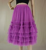Pink Tiered Tulle Midi Skirt Pink Princess Tulle Tutu Midi Skirt Outfit Wedding  image 9